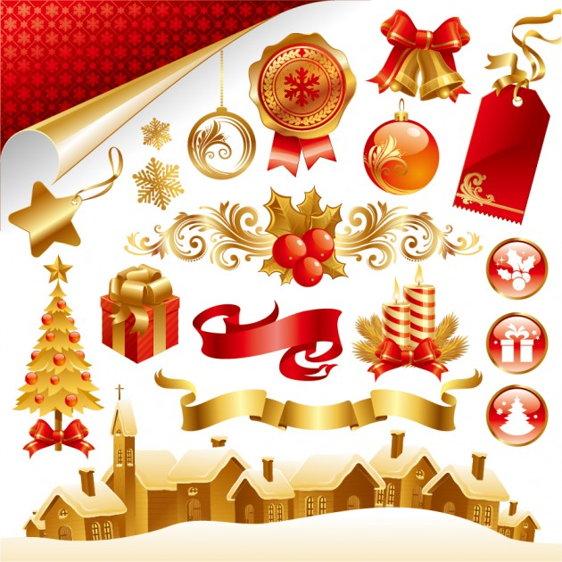 洗練されたクリスマス素材BEAUTIFUL CHRISTMAS MATERIAL VECTOR イラスト素材1