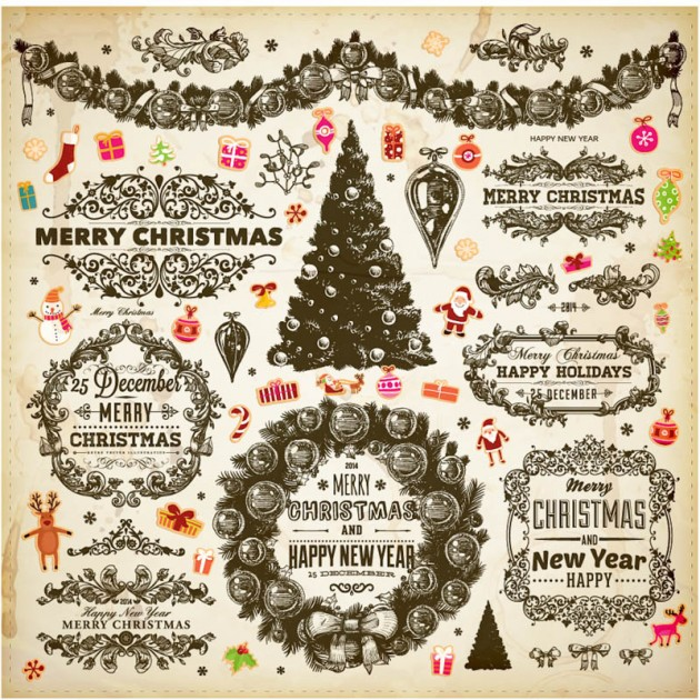 Ornamental-Christmas-vector-decorative-elements