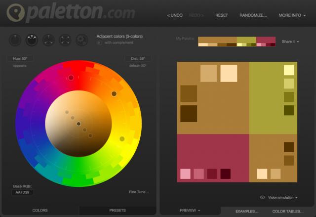 指定色から配色をピックアップ